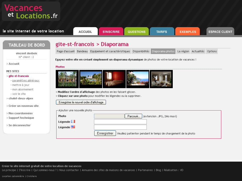 Cr ation du site internet de ma location saisonni re for Site de location